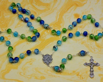 Cracked Crystal Rosary - Blue, Green & Aqua Cracked Crystal 10mm Beads - Italian Our Lady of Lourdes Center - Italian Filigree Crucifix