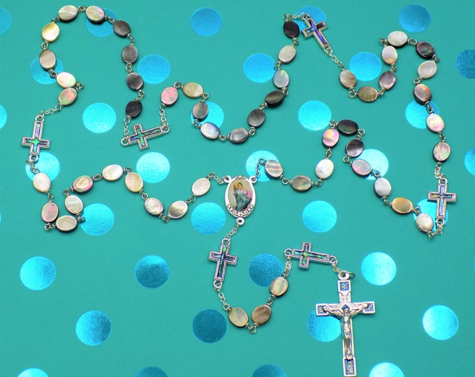 Black Lip & Paua Sea Shell Rosary - Black Lip Sea Shell Beads - Paua Sea Shell Cross Father Beads - Mary/Child Center- Italian Blue Crucifix
