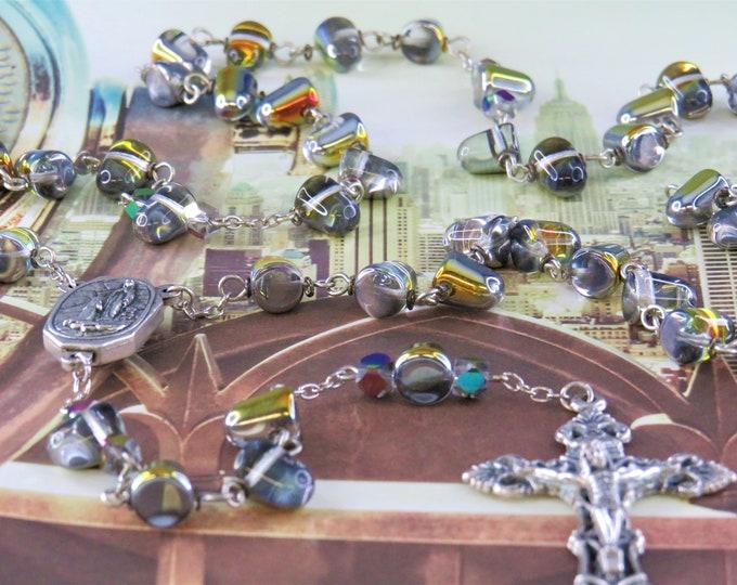 Czech Crystal Marea Rosary - Czech Crystal Marea Drop Beads - Italian Lourdes, France Center with Water - Italian Silver Filigree Crucifix
