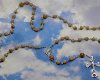 Grain Stone Rosaries - Semi Precious Grain Stone 6mm Beads - Center that Contains Earth from Jerusalem - Crucifix with Earth From Catacombs