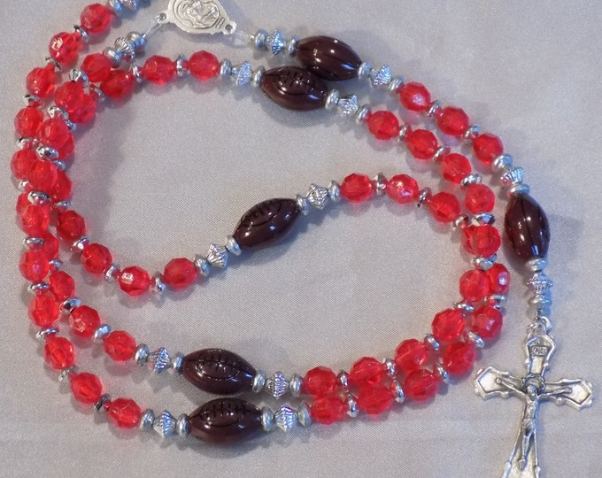 Football Sports Rosary - Red and Silver - Red and White - Blue, Red and White - Black and Gold - Blue and Gold - Assorted Team Colors
