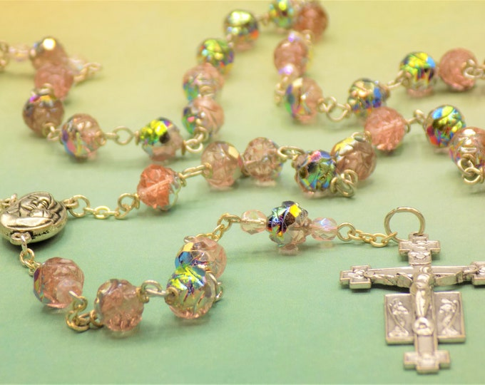 Czech Rosaline Rosebud Rosary - Czech Crystal Rosaline Rosebud Beads - Mary & Child Center with Earth from Jerusalem-Italian Angels Crucifix