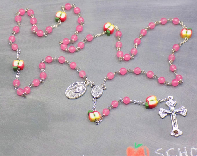 Teacher Rosary - Pink Candy Jade Gemstone Beads - Polymer Apple Beads - Italian Center - Italian Crucifix -St John Baptist De La Salle Medal