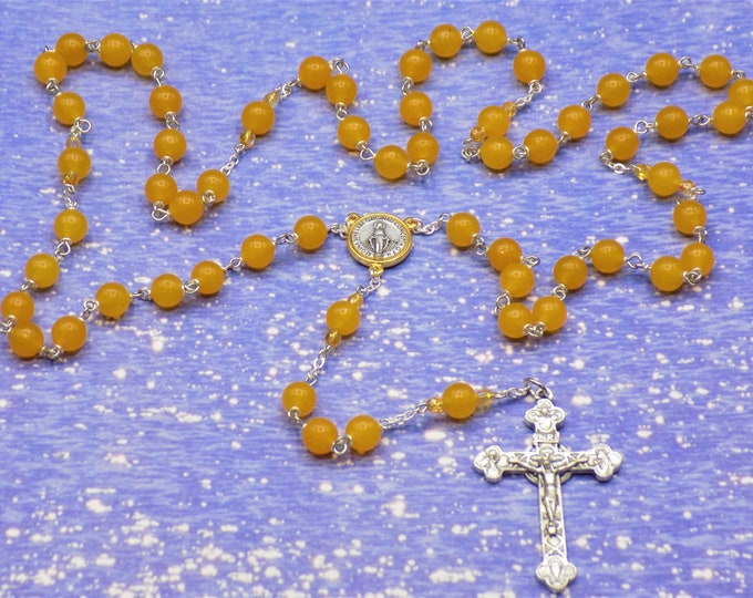 Yellow Honey Jade Rosary - Semi Precious Yellow Honey Jade Beads - Czech Accent Beads -  Ital Conception Center - Ital Eucharistic Crucifix