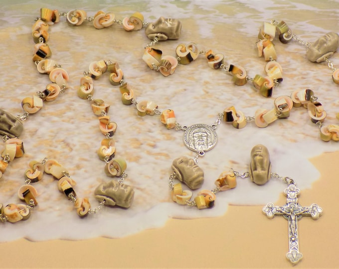 Easter Island Sea Shell Rosary - EverGreen Shell Beads - Easter Island Moai Head Beads - Holy Shroud of Turin Center  - Eucharistic Crucifix
