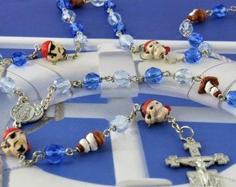 Pirates & Pirate Ship Rosary - Czech Blue Beads - Peru Ceramic Pirate Ship and Pirate Beads - Italian Angels Center -Italian Angels Crucifix