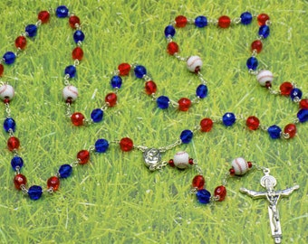 Baseball Rosary - Czech 8mm Blue and Red or Gold & Blue Glass Beads - Ceramic Baseballs - Jerusalem or Holy Face Centers - Italian Crucifix