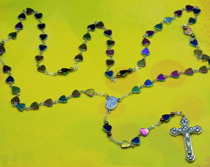 Rainbow Heart Hematite Rosary - Semi Precious Rainbow Hematite Heart Beads - Center that Contains Fatima Soil - Italian Hearts Crucifix