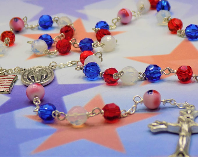 USA Rosary - Czech Red, White and Blue Crystal Beads - Glass Flag Father Beads - Italian Immaculate Mary Center - Italian Sunburst Crucifix