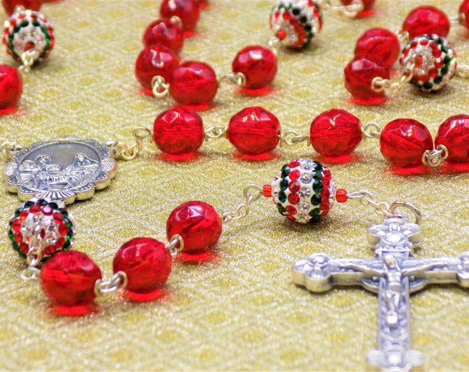 Christmas Rosary - Red, Green and Clear Rhinestone Beads - Czech Red Crystal Beads - Italian Holy Family Center - Italian Eucharistic Center