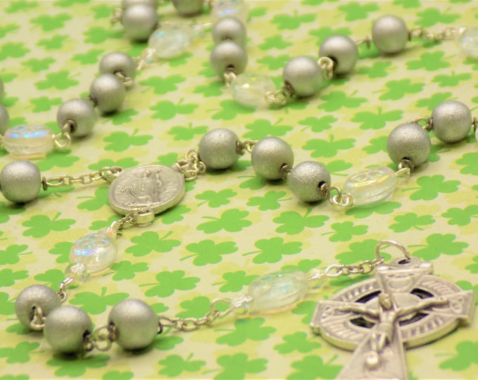 Czech Shamrock and Silver Wood Rosary - Czech Crystal Shamrock Beads - Silver Wood Beads  Italian St Patrick Center -Italian Cetric Crucifix