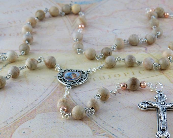 Natural Silkwood Wood Rosary - Aromatic Natural Silkwood 8mm Wood Beads - Metal Accent Beads - Medjugorje Center - Italian Hearts Crucifix