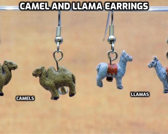 Camel and Llama Earrings - Camel Ceramic Earrings - Llama Ceramic Earrings