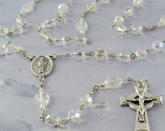 Shamrock Irish Rosary - AB Clear Crystal Beads - Czech AB Clear Shamrock Glass Beads -St's Patrick & Bridget Center -Italian Celtic Crucifix