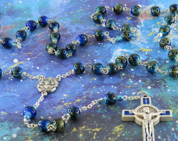Tibetan dZi Royal Blue Rosary - Royal Blue Tibetan dZi Style Glass 8mm Beads - Italian Rose & Mary Center -St Benedict Blue Enamel Crucifix