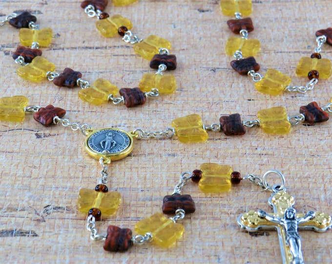 Amber and Brown Butterfly Rosary - Czech Amber and Brown Crystal Butterfly Beads -Italian Silver & Gold Immaculate Center and Heart Crucifix