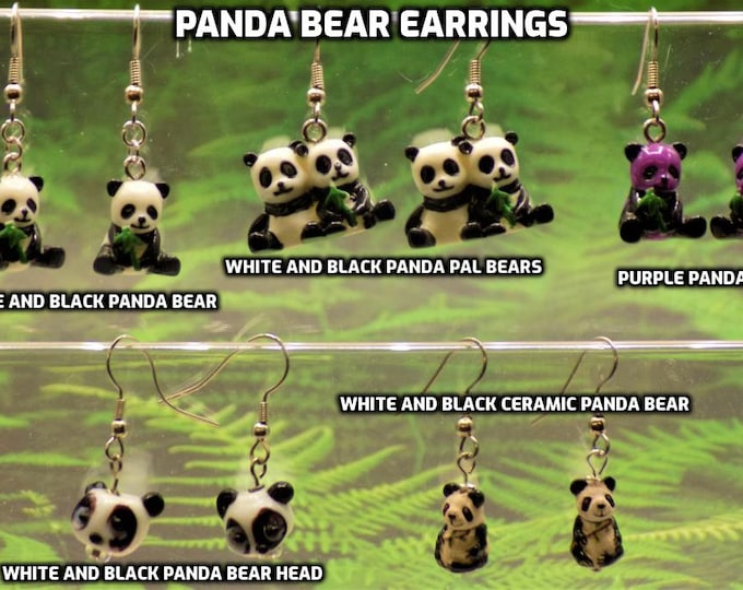 Panda Bear 3D Earrings - White and Black Panda Bear Pals - White & Black Panda Bears - Purple and Black Panda Bears - Panda Bear Heads