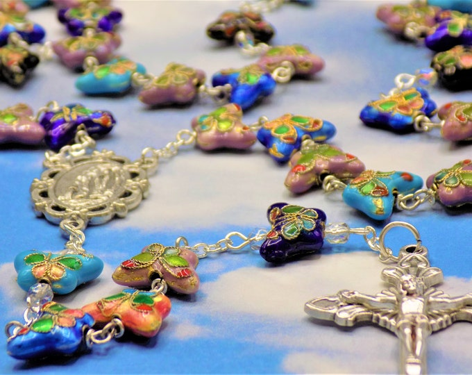 Multi Color Cloisonné Butterfly Rosary - Multi Color Cloisonné Butterfly Metal Beads - Italian Lourdes Center - Italian Sunburst Crucifix