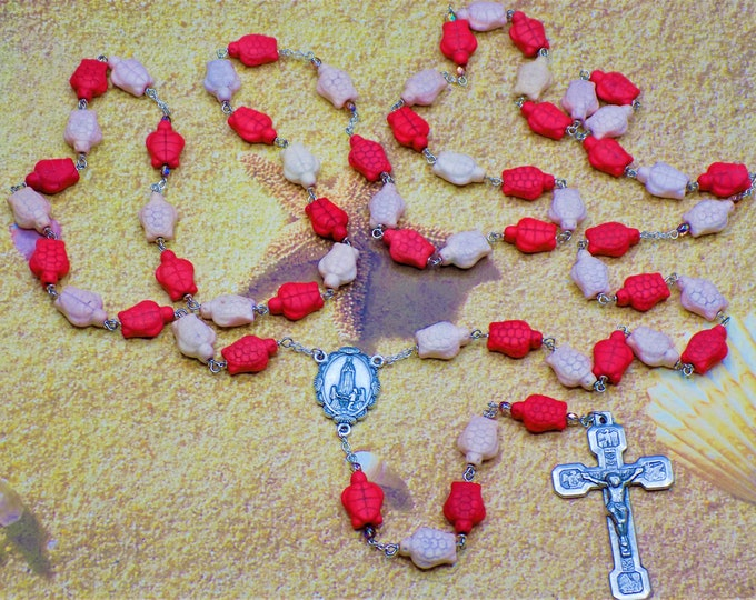 Stone Turtle Rosaries - Pink or Violet Stone Turtle Beads-Italian Silver Our Lady of Fatima Centers-Italian Stations of the Cross Crucifixes