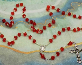 Siam Red Rosebud Rosary - Czech Siam Red Rosebud Beads - Italian Our Lady of Medugorje Center with Earth - Italian Silver Filigree Crucifix