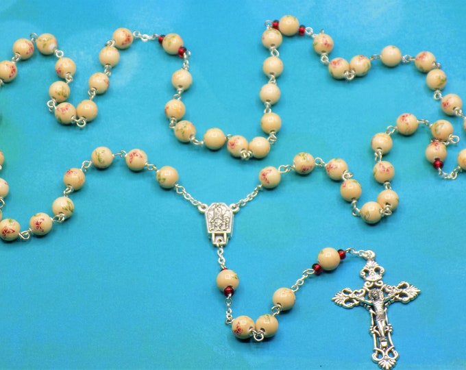 Butterfly Rosary - Porcelain Hand Painted Colorful Butterfly Beads - Italian Our Lady of Fatima with Water Center -Italian Filigree Crucifix