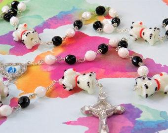 Dalmatian Dog Rosary - Czech White & Black Glass Beads - Dalmatian Dog Glass Beads - Colorful Mary Center -St Benedict White Enamel Crucifix