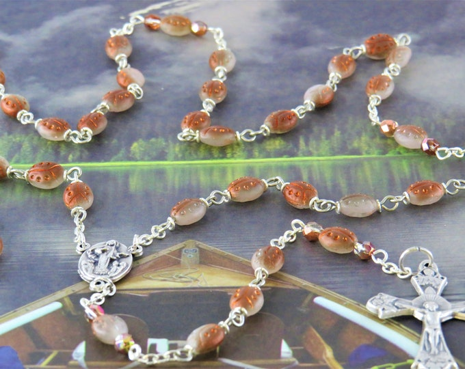 Ladybug Rosary - Czech Ladybug Copper & Gray Crystal Beads  - Italian Our Lady of Medugorje Center - Italian Silver Grapes and Vine Crucifix