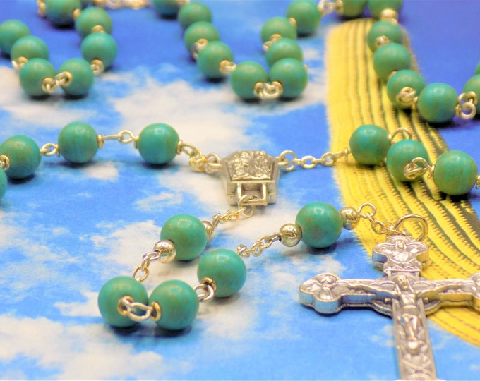 Turquoise Stone Rosary - Turquoise Magnesite Teal Gemstone Beads - Italian Our Lady of Lourdes Water Center - Italian Eucharistic Crucifix