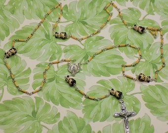Panda Bear Bamboo Rosary - Natural Bamboo 2x9mm Beads - Ceramic Panda Bear with Bamboo Beads - Mary with Angels Center - Angels Crucifix