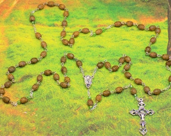 Ladybug Rosaries - Czech Brown Picasso or Grey & Copper Metallic Ladybug Glass Beads - Water from Lourdes Centers - Italian Crucifixes