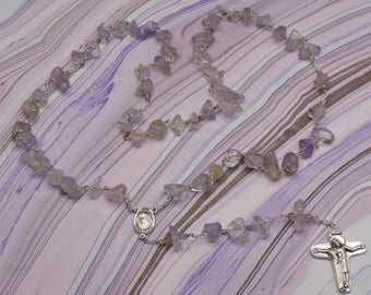 Lavender Amethyst Rosary - Semi Precious Lavender Amethyst Nugget Beads - Medjugorje Center which Contains Earth - Mary and Jesus Crucifix