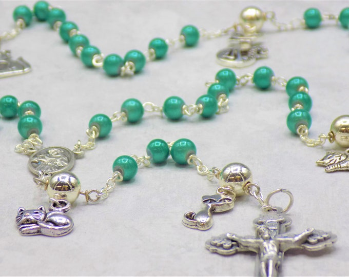 Cat Rosary - Turquoise Miracle Fiberglass Beads - Pewter Father Beads - Silver Cat Charms - Ital St Francis Center - Italian Hearts Crucifix