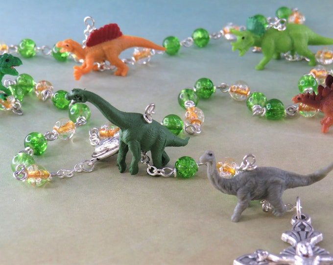 Dinosaur Rosary -  Green & Gold Crackle Glass Beads - Hand Painted Dinosaur Beads - Mary With Earth Center -Italian Flared Sunburst Crucifix