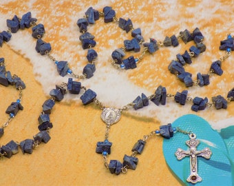 Coral Rosary - Blue Denim Coral Beads - Czech Blue Accent Father Beads - Italian Mary & Angels Center - Italian Crucifix with Catacombs Soil