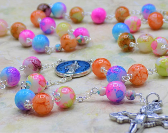 Rainbow Glass Rosary - Rainbow Glass Beads - Italian Silver and Blue Enamel Our Lady of Grace Center -Italian Silver Sunburst Flare Crucifix