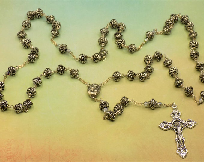 Spiral Metal Rosary - Silver Metal Spiral Beads - Czech Silver and Crystal Beads - Mary & Child with Soil from Jerusalem - Filigree Crucifix