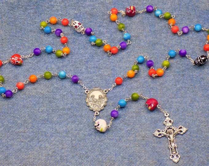 Day of the Dead Rosary - Mother of Pearl Gemstone Beads - Ceramic Day of the Dead Sugar Skull Beads - Holy Family Center -Filigree Crucifix