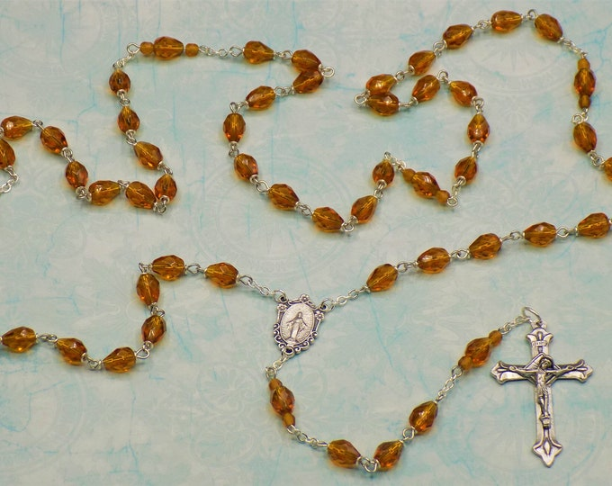 Mary's Tears Topaz Rosary - Czech Topaz Teardrop Crystal Beads - Italian Silver Miraculous Mary Center - Italian Silver Angels Crucifix