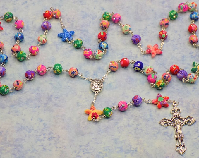 Polymer Clay Flowers and Starfish Rosary - Polymer Clay Flower & Starfish Beads - Mary Center with Earth from Jerusalem - Filigree Crucifix