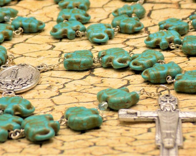 Turquoise Stone Elephant Rosary - Turquoise Stone Elephant Beads - Italian Our Lady of Fatima Center - Italian Christ the Redeemer Crucifix