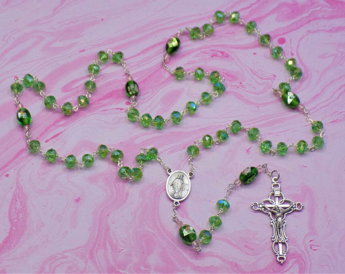 Green Crystal Rosary - Green Fancy Crystal 6x8mm Beads - Handmade Lampglass Beads - Italian St Patrick Center -  Italian Ornate Crucifix