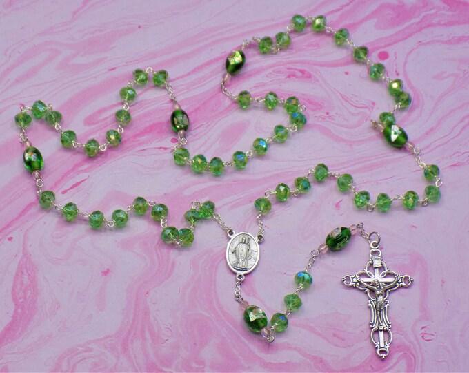 Green Crystal Rosary - Green Fancy Crystal 6x8mm Beads - Handmade Lampglass Beads - Italian St Patrick Center -  Italian Ornate Crucifix