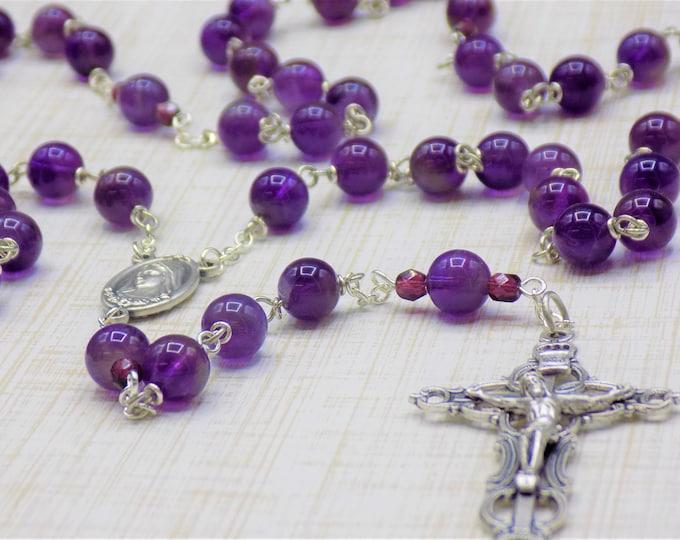 Amethyst Rosary - Semi Precious Amethyst Beads - Czech Purple Beads -Italian Our Lady of Medjugorje Earth Center - Italian Filigree Crucifix