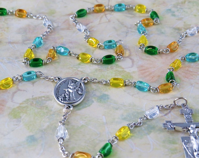 Multi Color Crystal Rosary - Czech Crystal 3-Sided Multi Color Beads - Italian Silver Guardian Angel Center - Italian Silver Angels Crucifix