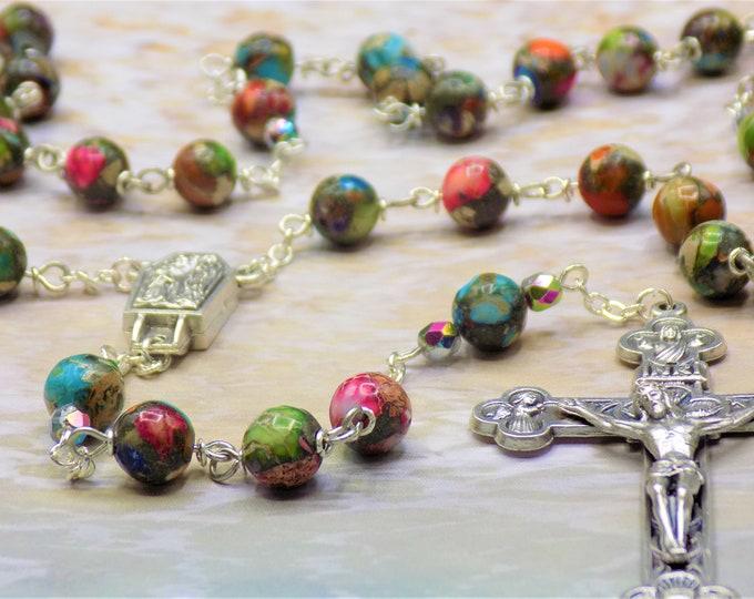 Rainbow Sea Jasper Rosary - Apatite Rainbow Sea Sediment Imperial Jasper Gemstone Beads - Lourdes with Water Center - Eucharistic Crucifix