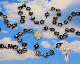 Dragonfly Rosary - Black and Silver Glass Dragonfly Beads - Czech Black Accent Beads - Our Lady of Fatima Center - Eucharistic Crucifix