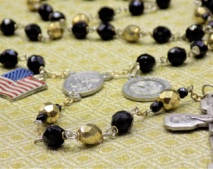 US Army Military Rosary - Czech Black and Gold Crystal Beads - St Michael Center - St Christopher & US Army Insignia Charm-Stations Crucifix
