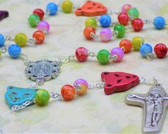 Stone Cheetah Multi Color Rosary - Stone Cheetah Multi Color Beads - Multi Color Glass 8mm Beads -Italian Mary Center -Mary & Jesus Crucifix