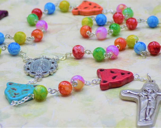 Stone Cheetah Multi Color Rosary - Stone Cheetah Multi Color Beads - Multi Color Glass 8mm Beads -Italian Mary Center -Mary & Jesus Crucifix