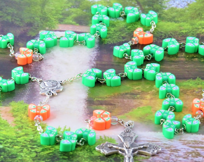 Green and Orange Butterfly Rosary - Colorful Green and Orange Butterfly Polymer Beads - Italian Rose Center - Italian Grapes & Vine Crucifix